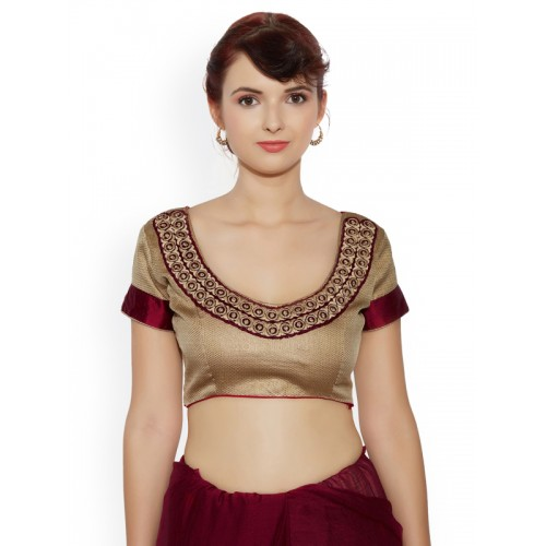 Indian Women Maroon Embellished Poly Chiffon Saree