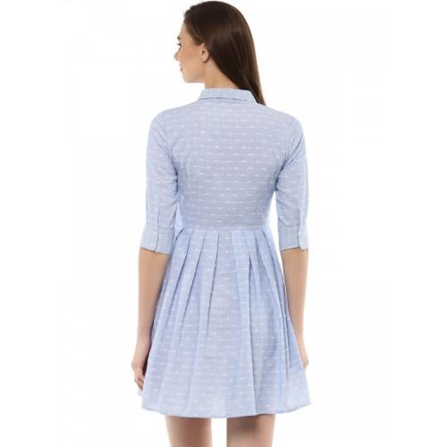STREET 9 Women Blue Self-Striped Shirt Dress