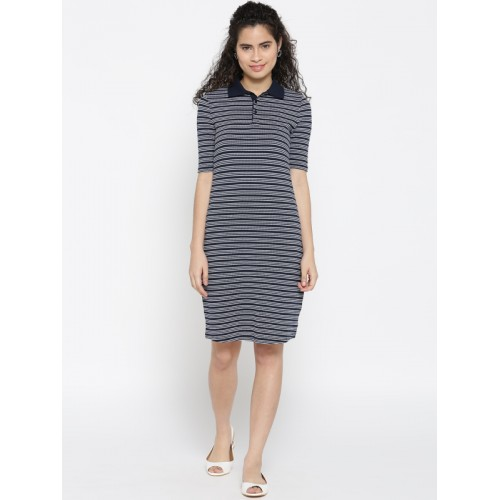 United Colors of Benetton Navy Blue Coloured Striped Shift Dress