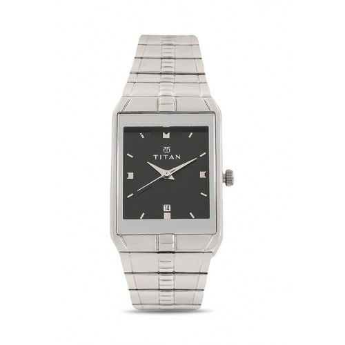 Titan NH9151SM02 Square Stainless Steel Analog Watch