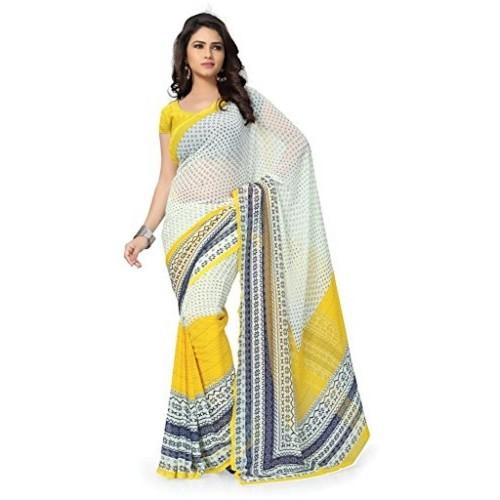 83c4ab5b55b795 Buy Vaamsi Women s White   Yellow Chiffon Saree online