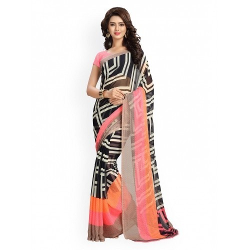 Vaamsi Multi-Coloured Faux Georgette Printed Saree