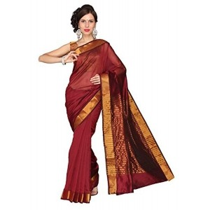 e-VASTRAM Women Chanderi Plain Saree (MPM, Maroon)