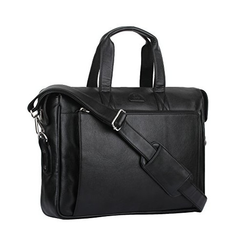 K London Black Leatherite Handmade Men Laptop Bag Cross Over Shoulder Messenger Bag Office Bag(1801_black)