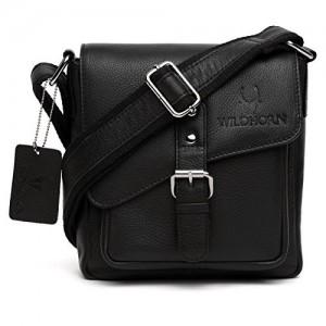 Wildhorn Urban Edge 787Cms Genuine Leather Black Messenger Bag