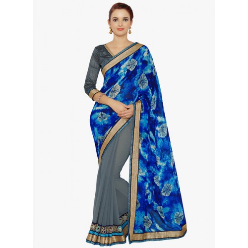 Indian Women's Georgette Half & Half Embroidered Saree with Blouse