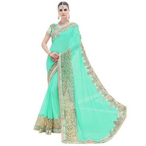Indian Women's Cyan Georgette & Net Plain Sari with Embroidered Border