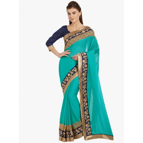 Indian Women's Chiffon Saree With Blouse Piece (Pl-20709_Cyan)