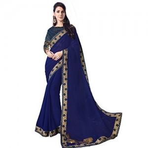 Indian Women's violet Color georgette sari