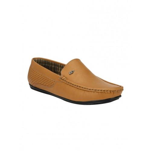 knoos tan leatherette slip on loafer
