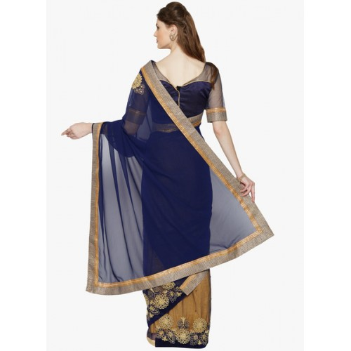 Indian Women By Bahubali Blue & golden net half & half saree with blouse
