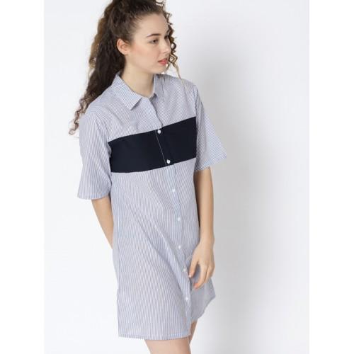 7fa15f1a Buy MANGO Women White & Blue Striped Shirt Dress online | Looksgud.in