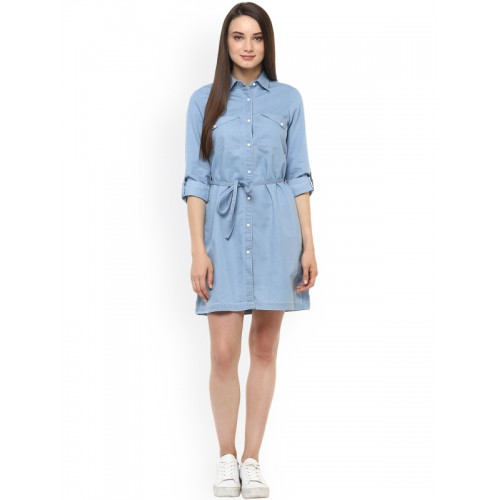 StyleStone Women Blue Denim Shirt Dress