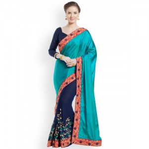 Indian Women Teal & Navy Blue Pure Silk Embroidered Saree