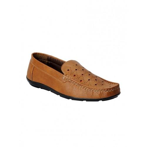FAUSTO tan leatherette slip on loafer