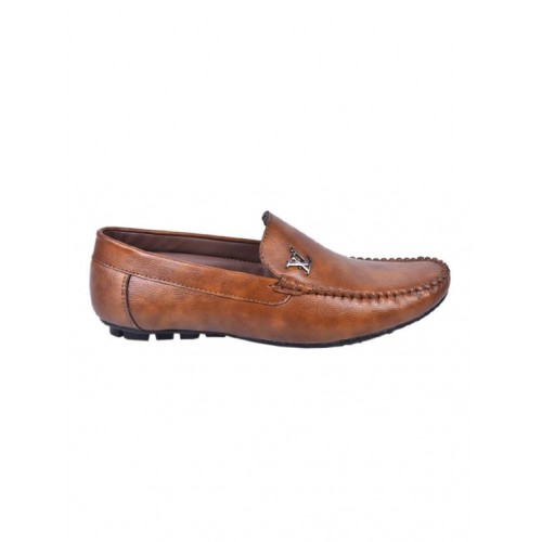 Messi tan synthetic slip on loafers