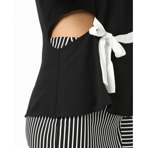 TALLY WEiJL Woven Top with Waist Tie-Up & Cut-Outs