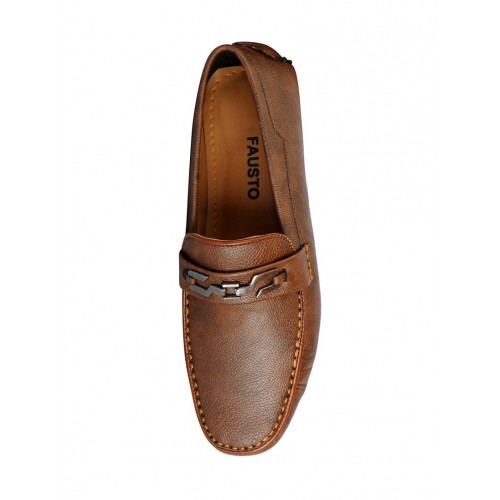FAUSTO brown leatherette slip on loafer