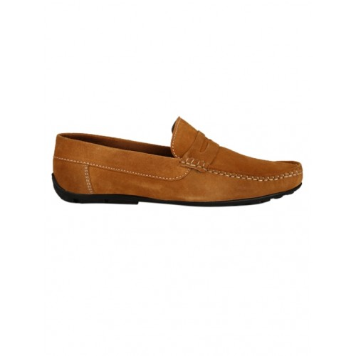 ZebX brown Leather slip on loafer