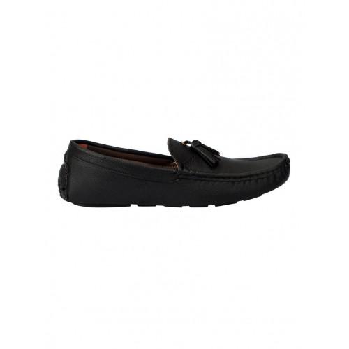 FAUSTO black leatherette slip on loafer