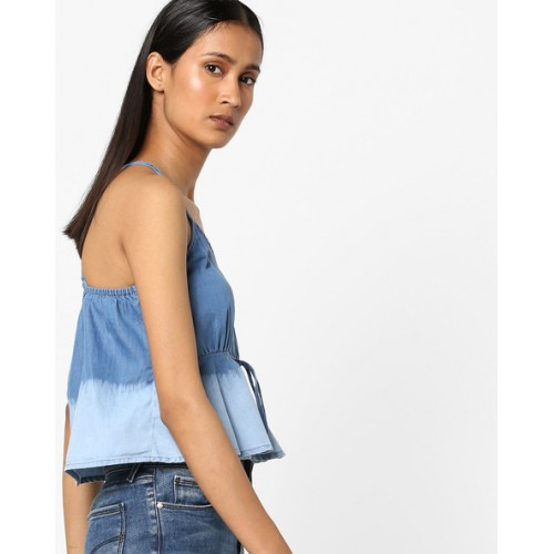 AJIO Strappy Crop Top with Washed Effect