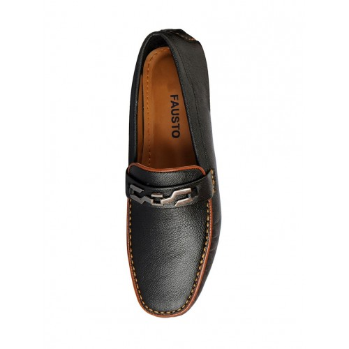 FAUSTO black leatherette slip on loafer
