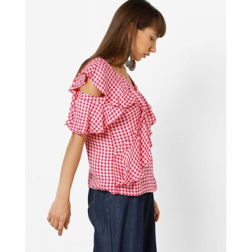 32fab3c95f9a6 Buy Only Checked Cold-Shoulder Top with Ruffles online