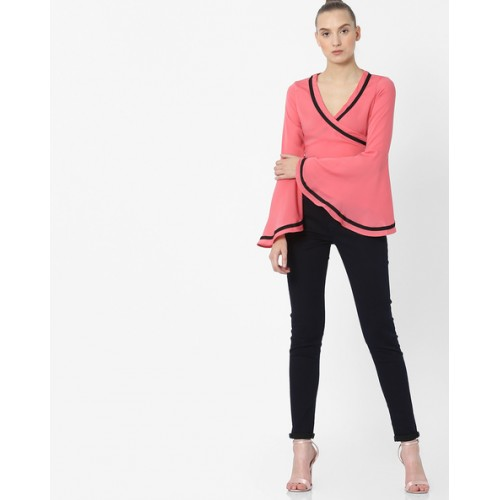 AJIO Cropped Wrap Top with Bell Sleeves