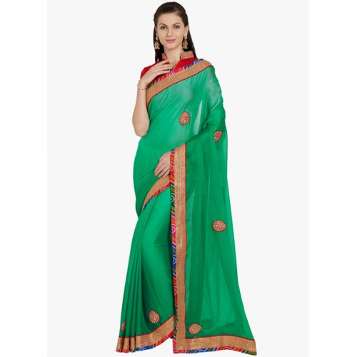 Indian Women By Bahubali green embroidered saree with blouse