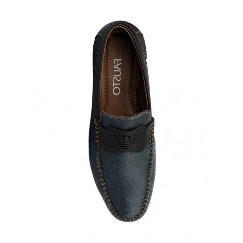 FAUSTO blue leatherette slip on loafer