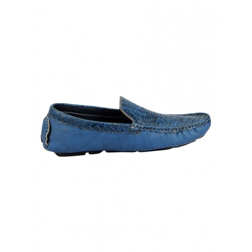 FAUSTO blue leatherette slip on loafer