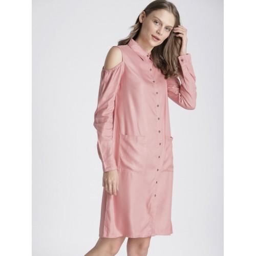 Chemistry Women Pink Solid Shirt Cold-Shoulder Dress