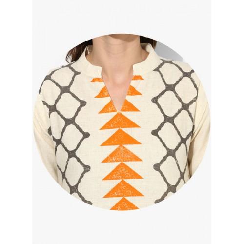 Sangria Band Collar 3/4Th Roll Up Sleeves Printed Straight Kurta