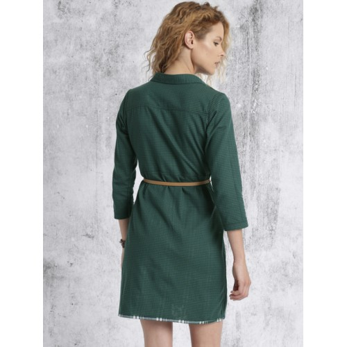 Roadster Green Checked Shift Dress