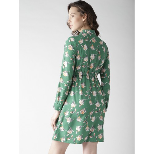 Mast & Harbour Women Green & White Floral Print Shirt Dress