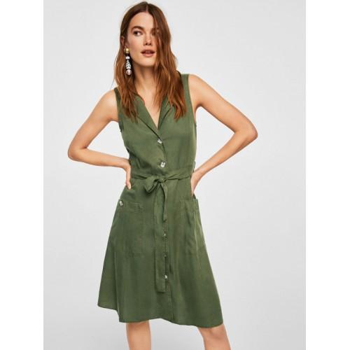 c5172ea07c8 Buy MANGO Women Olive Green Solid Shirt Dress online