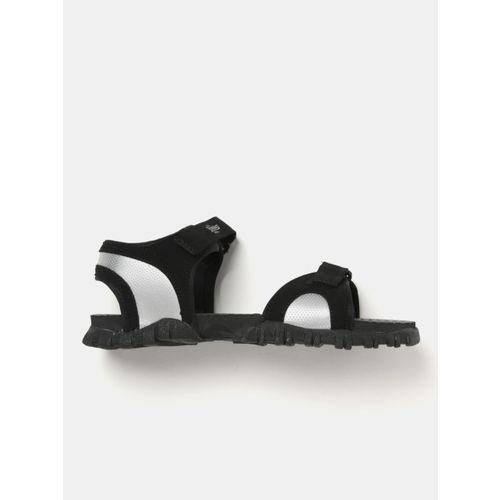 Roadster Men Black & Silver-Toned Colourblocked Sports Sandals