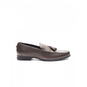 Carlton London Men Coffee Brown Leather Smart Casual Loafers