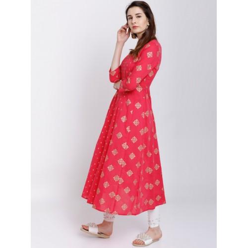 Vishudh Women Pink & White Printed Anarkali Kurta