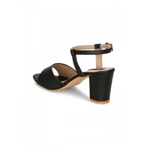 KIELZ black faux leather ankle strap sandals
