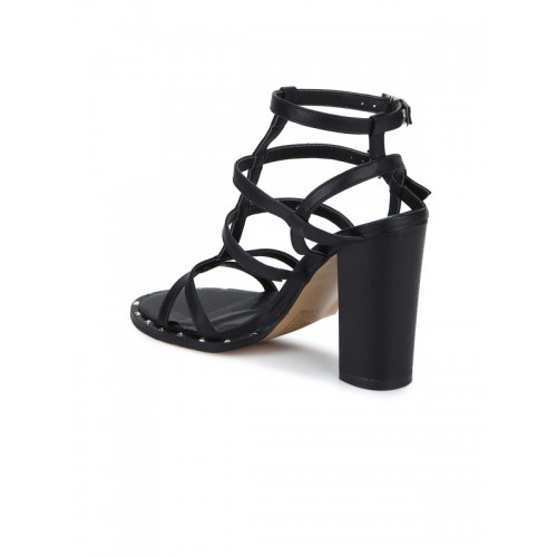 Truffle Collection Black Ankle Strap Sandals