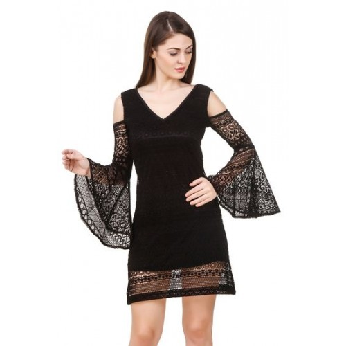Buy Texco Womens Cold Shoulder Black Lace Party Dress Online