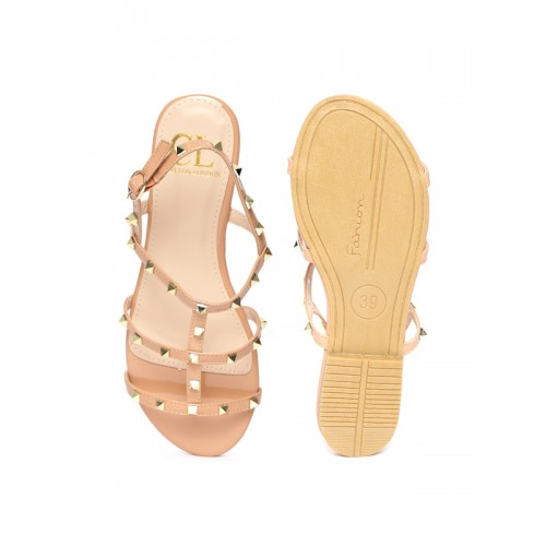 Carlton London Women Beige Studded Open Toe Flats