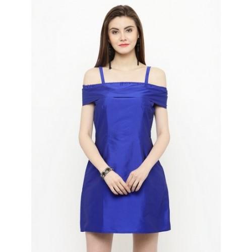 9e1c27f09871 Buy Sera Women s Western wear Royal Blue off shoulder strapes dress ...