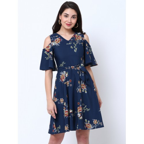 Tokyo Talkies Women Navy Blue Printed Fit and Flare Cold Shoulder Dress