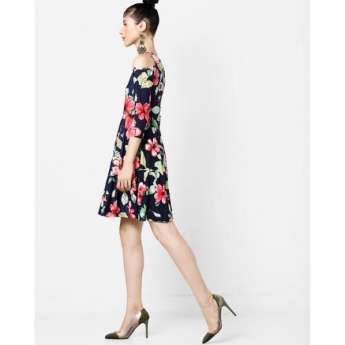 And Floral Print Cold-Shoulder A-line Dress