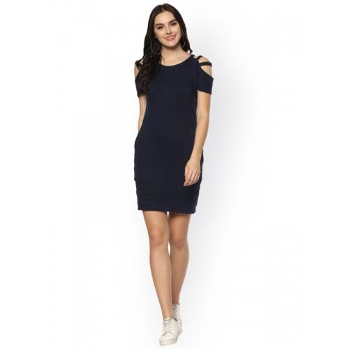Zima Leto Women Navy Blue Solid Sheath Dress