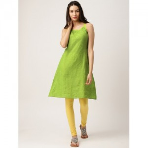 IMARA Women Green Solid A-Line Kurta
