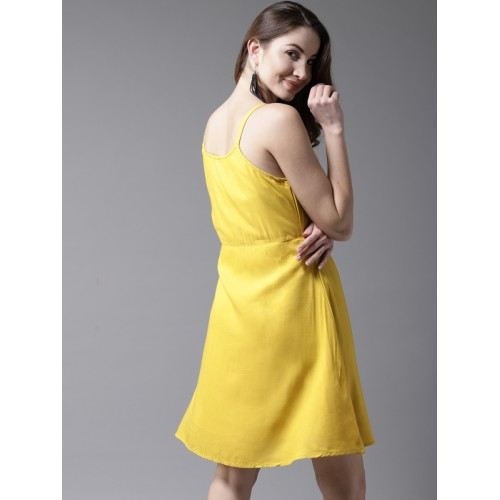 HERE&NOW Women Mustard Yellow Solid Fit and Flare Dress