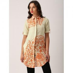 IMARA Women Off-White & Orange Printed A-Line Kurta